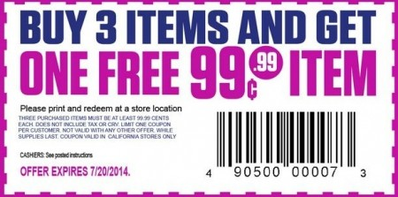 HOT Coupon For 99 Cent Only Stores