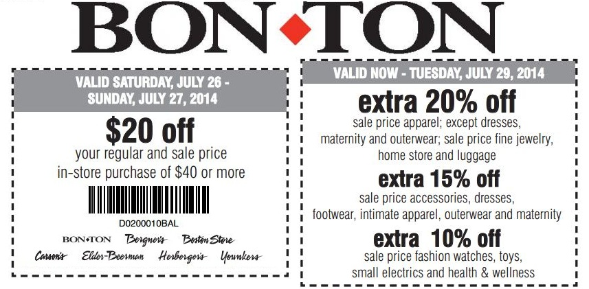 picture regarding Bon Ton Printable Coupon titled Sizzling* $10 Off $25 Bon-Great deal Coupon