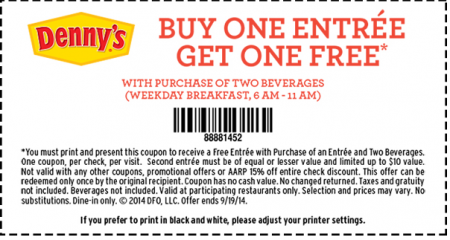 photograph about Denny's Printable Coupons called Acquire One particular Take Just one Absolutely free Entree Dennys Coupon