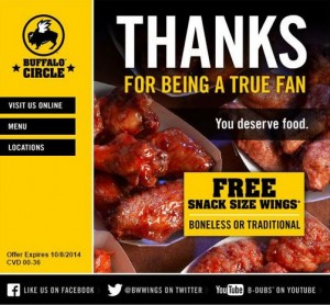 image about Buffalo Wild Wings Printable Menu called Cost-free Snack Dimension Wings at Buffalo Wild Wings