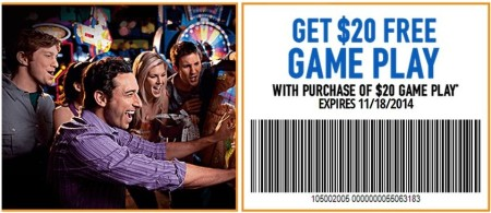 image relating to Dave and Busters Printable Coupons titled Cost-free $20 Activity Enjoy at Dave Busters With Obtain of $20