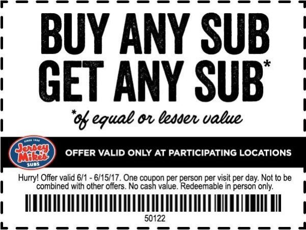 picture relating to Jersey Mikes Printable Coupons referred to as Invest in 1 Receive 1 Totally free Jersey Mikes Subs Coupon