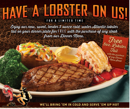 photo relating to Black Angus Printable Coupons referred to as Cost-free Lobster Tail with Steak Get at Black Angus