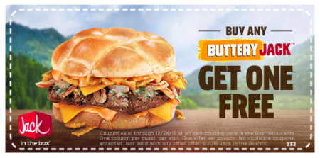 picture about Jack in the Box Printable Coupons referred to as Acquire 1 Choose 1 Absolutely free Buttery Jack Burger at Jack within the Box