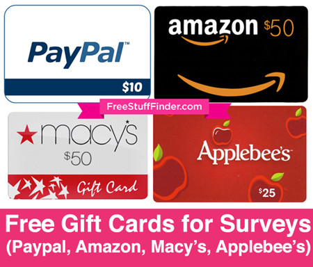 Earn Free Gift Cards for Surveys (Paypal, Amazon & Macy's)