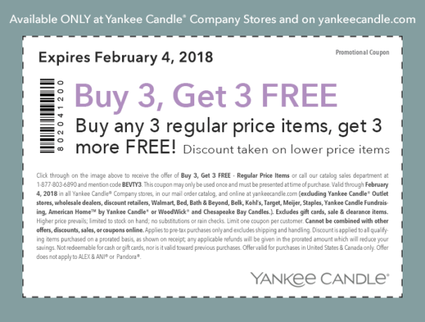 picture about Yankee Candle Printable Coupons identified as Scorching* Order 3 Buy 3 Totally free Yankee Candle Coupon