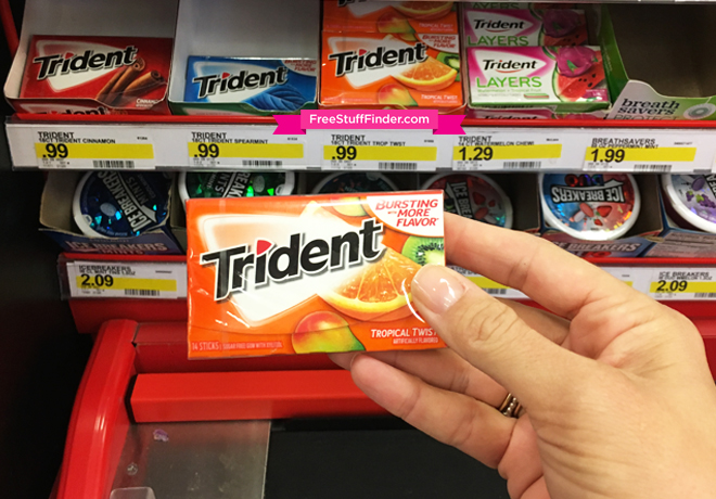 picture regarding Trident Coupons Printable called Scorching* $1.59 Off Trident Gum One Packs Coupon (Just $0.46