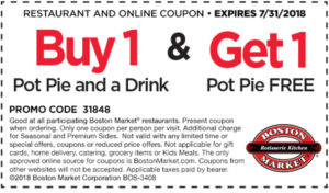graphic regarding Boston Market Printable Coupons titled Get 1 Pot Pie Consume, Get hold of 1 Pot Pie Cost-free at Boston Marketplace