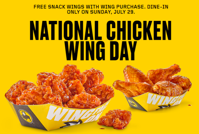 photo relating to Buffalo Wild Wings Printable Menu named Totally free Snack Wings with Wing Order at Buffalo Wild Wings (7