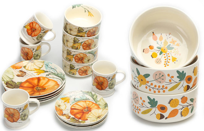 Mainstays Fall Theme 16 Piece Dinnerware Sets Just 17 99 At Walmart Reg Up To 59