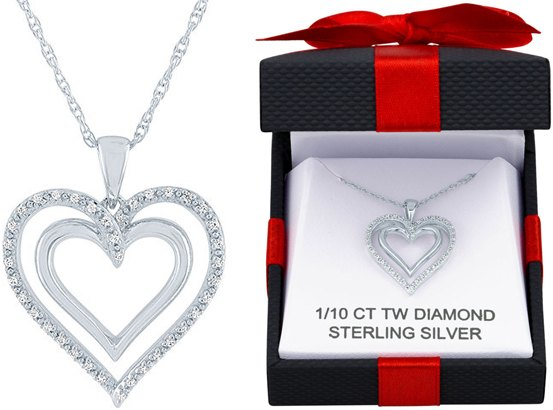 Genuine Diamond Heart Necklace in Sterling Silver for JUST $25 (Reg $125)