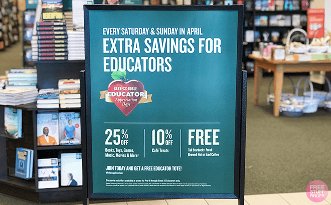 Barnes & Noble Educator Appreciation Days: FREE Starbucks Coffee, Extra 25% Off Books