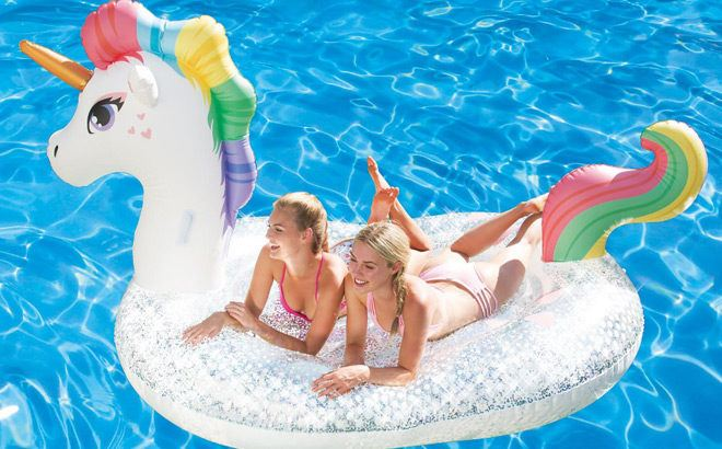 HUGE Glitter Sparkles Pool Float ONLY $24.98 at Sam's Club (Rainbow, Unicorn or Mermaid)