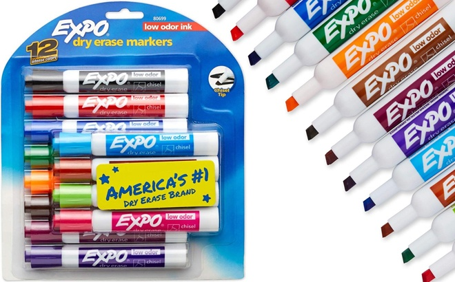 Expo Low Odor Dry Erase Markers Assorted Colors 12 Pack Just