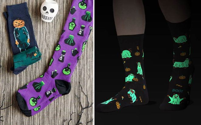 Details about  /Glow in the Dark Halloween  Socks One Size Fits Most NWT