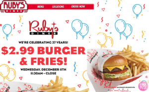 Burger & Fries ONLY $2.99 at Ruby's Diner – Today December 11th Starting at 11:30 AM!