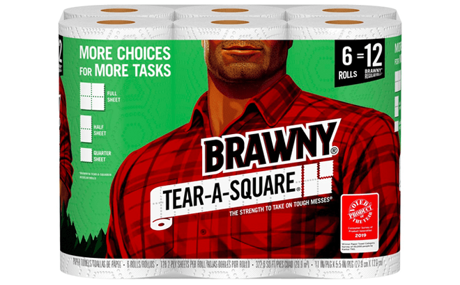 Brawny Tear-A-Square Paper Towels Now In Stock at Walmart at $11.98