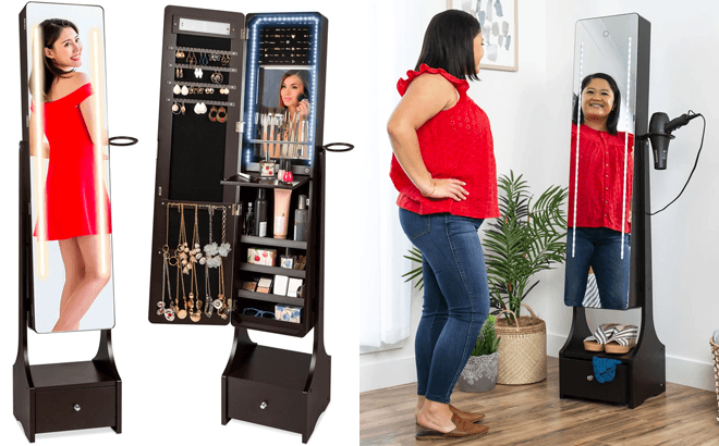 Full-Length Mirror and Jewelry Armoire for ONLY $124.99 + FREE Shipping (Reg $200)